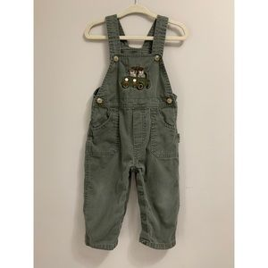 Boys Embroidered Green Overalls | Size: 18 months